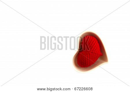 White Cup  With Red Hearts On White Background