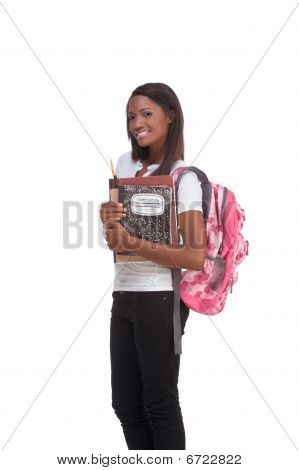 ducation series - Friendly ethnic black female high school student with backpack and composition book poster