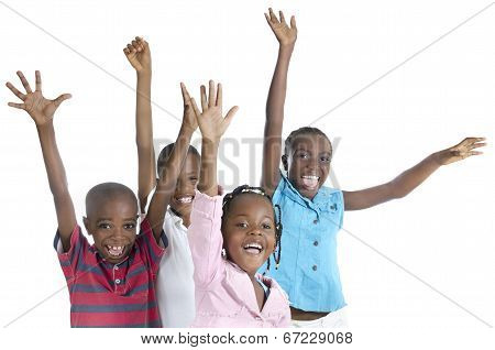 Four Happy African Cheering