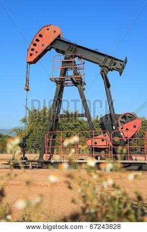 Oil Pump Jack (Sucker Rod Beam) on Sunny Day poster