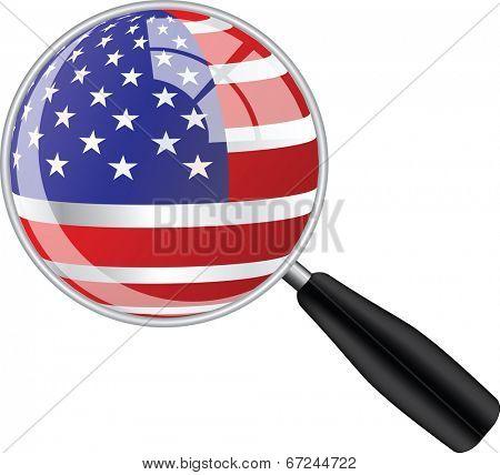 Magnifying glass with usa flag