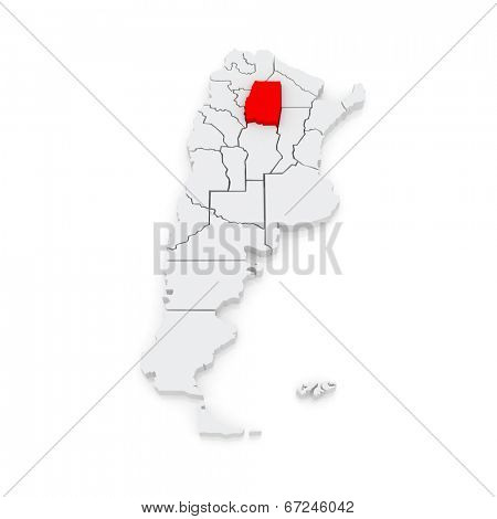 Map of Santiago del Estero. Argentina. 3d