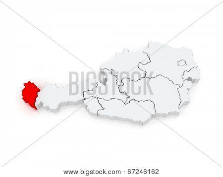 Map of Vorarlberg. Austria. 3d