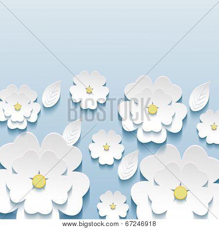 Beautiful Stylish Wallpaper With 3D Flowers Sakura