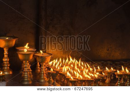 Candles At Temple In Kathmandu