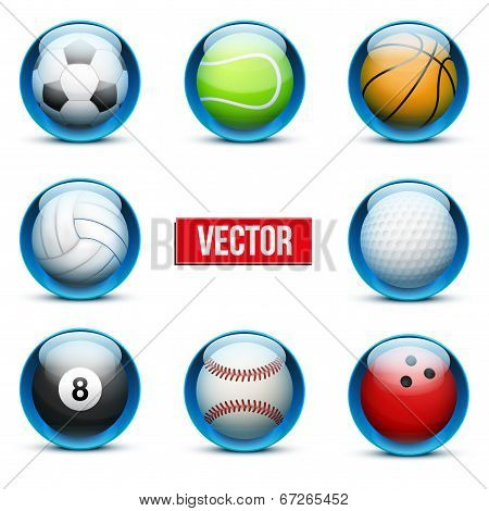 Set Of Glass Icons Sports Themes For Website Or App