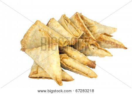 arrangement of fresh deep fried samoosa snacks poster
