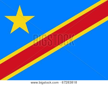 National flag of the Democratic Republic of the Congo, Authentic version (to scale and color)