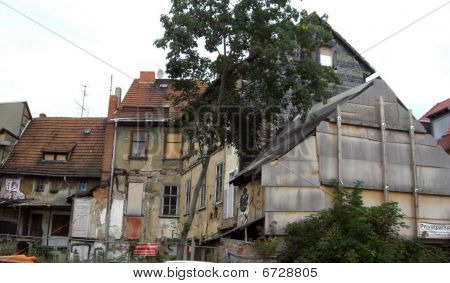 Abandoned, decayed, and vandalized houses