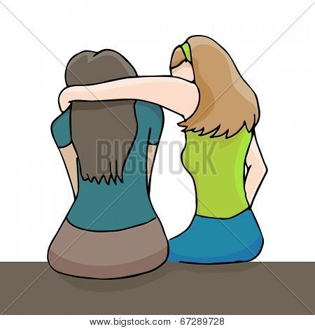 An image of a woman comforting a depressed woman.