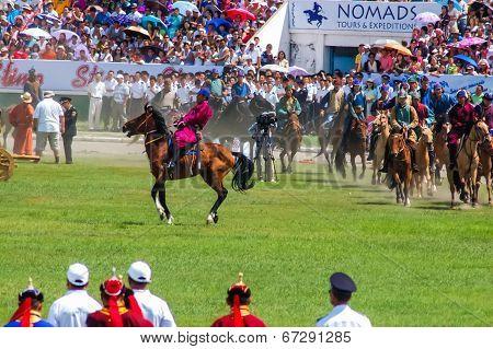 Horseback Riders At Nadaam Opening Ceremony