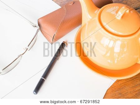 Tea Time On Working Wooden Table