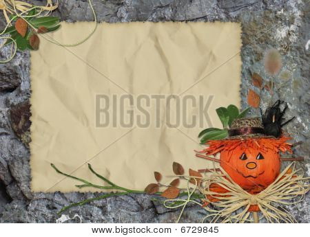 Crushed Paper With Scarecrow And Branch On The Abstract Background