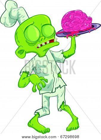 Cartoon zombie chef serving a brain.