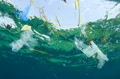 Environmental problem: Plastic bag pollution in ocean poster
