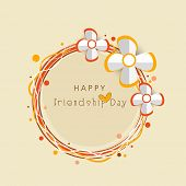 Happy Friendship Day celebrations greeting card design with silver flowers on beige background.  poster