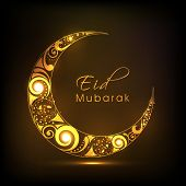 Shiny floral design decorated crescent moon on brown background for Eid Mubarak festival celebrations.  poster