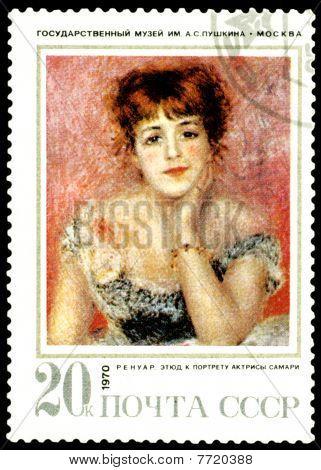 Vintage  Postage Stamp. Renoir. Etude To A Portrait Of Actress Samari