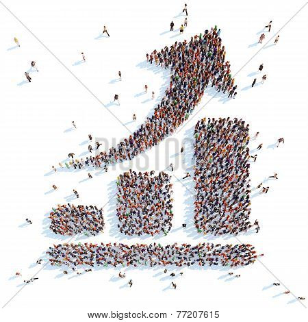 Large group of people in the form of an arrow graphic. White background. poster