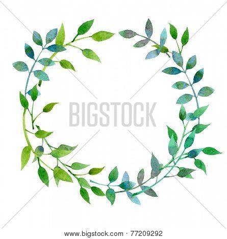 Hand-drawn watercolor floral frame made in vector