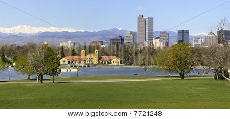 Denver Skyline From City Park Panorama