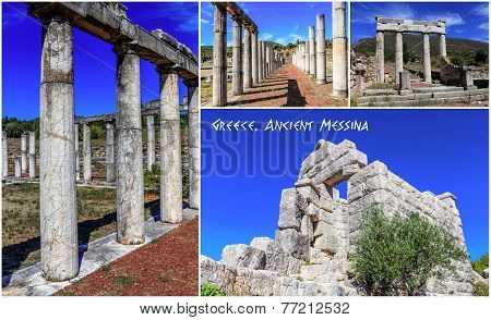 Collage of  the ruins in Ancient city, Greece