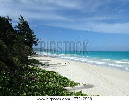 Waimanalo Beach Looking Towards Mokulua Islands