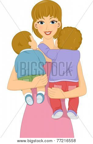 Illustration Featuring a Female Babysitter Carrying Babies in Her Arms