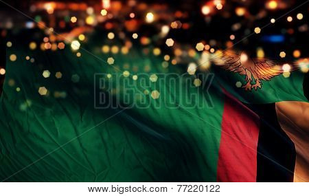 Zambia National Flag Light Night Bokeh Abstract Background