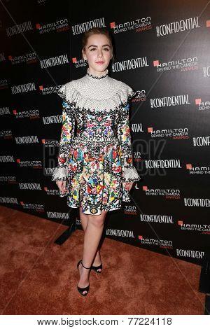 LOS ANGELES - NOV 9:  Kiernan Shipka at the Hamilton Behind The Camera Awards at the Wilshire Ebell Theater on November 9, 2014 in Los Angeles, CA