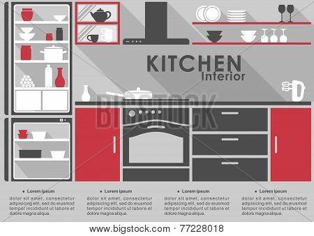 Kitchen Interior flat design with long shadows