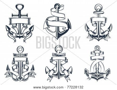 Marine themed ships anchor icons with ribbons