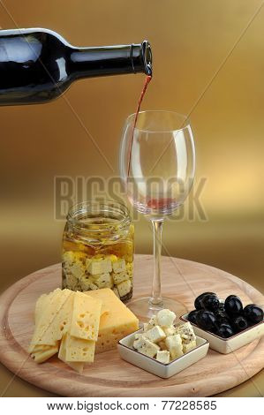 Wine Bottle And Cheese