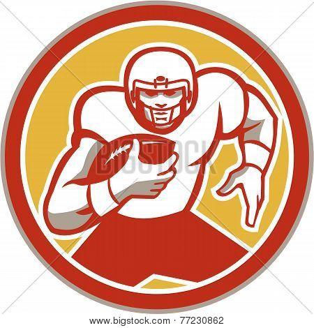American Football Running Ball Circle Retro