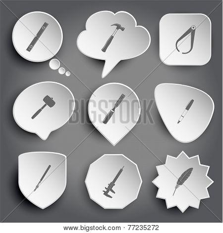 spirit level, hammer, caliper, mallet, chisel, ink pen, ruling pen, feather. White vector buttons on gray.