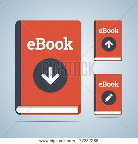 eBook illustration in download, upload and edit modifications.