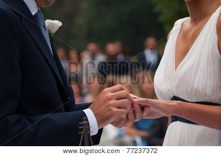 Exchange Of Wedding Rings During The Ceremony