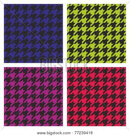 Pastel vector houndstooth seamless dark pink, blue, green, violet and black pattern set