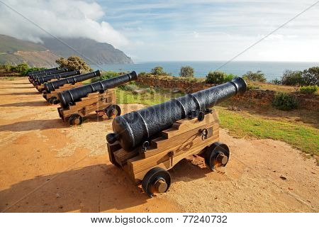 Old antique cannons at Chapmans Peak, Hout Bay near Cape Town, South Africa