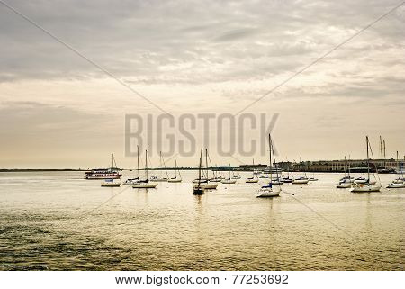 Sailboats At Harbour Of Boston