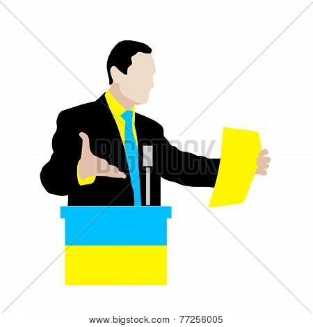 Ukrainian speaker delivers a speech at the podium