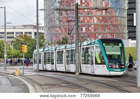 Barcelona Tram With Agbar Tower