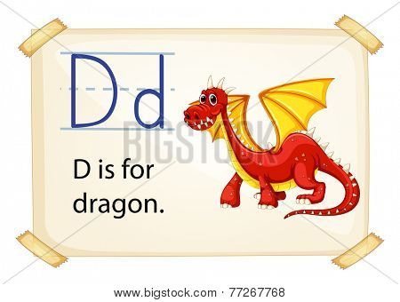 A letter D for dragon on a white background