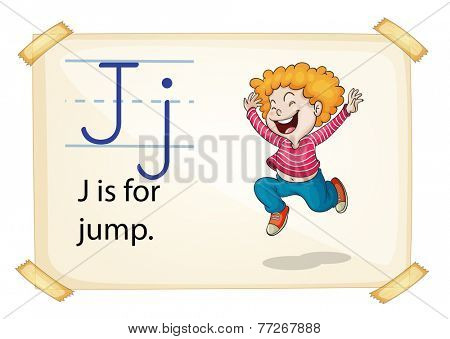A letter J for jump on a white background