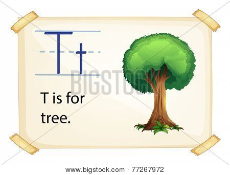 A letter T for tree on a white background