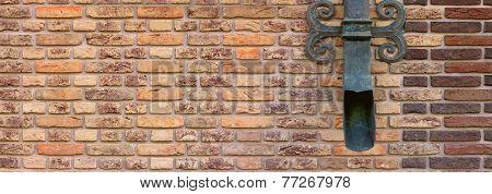 brown brick wall with shod decor panoramic