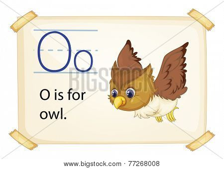 A letter O for owl on a white background