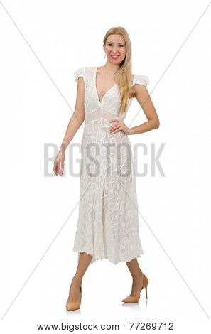 Woman in dress in fashion dress isolated on white