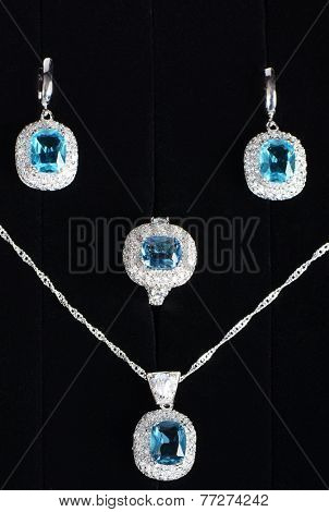 The costume jewellery. Pendant, earrings and ring