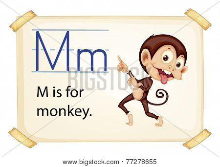 A letter M for monkey on a white background